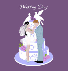 wedding cake decorated with cream couple doves vector image