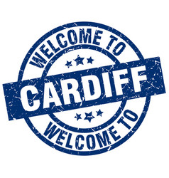 Welcome to cardiff blue stamp vector