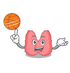 With basketball thyroid character cartoon style vector