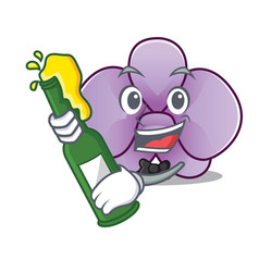 With beer orchid flower mascot cartoon vector