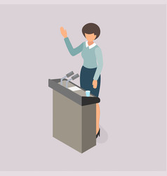 Woman voting on the platform vector