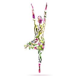 Yoga pose watercolor bright floral vector image