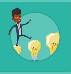 businessman jumping on light bulbs vector image
