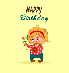 cartoon birthday card with little girl and vector image