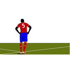 Football player waiting out on the field colored vector