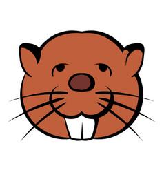 head of beaver icon cartoon vector image vector image