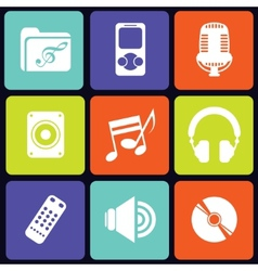 Music icons square vector image