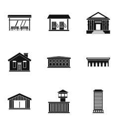 Construction of city icons set simple style vector image