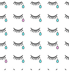 seamless background with tears and eyelashes vector image