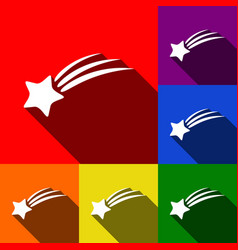 shooting star sign set of icons with flat vector image
