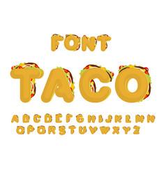 taco font mexican fast food abc tacos alphabet vector image