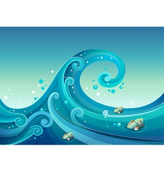 A big wave in the sea with fishes vector image vector image