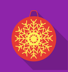 christmas bauble with snowflake icon in flat style vector image vector image