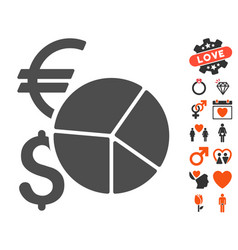 Currency pie chart icon with love bonus vector
