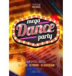 Mega Party Dance Poster Background Template with vector image vector image