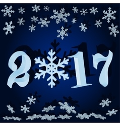 The numbers and snowflakes New 2017 vector image