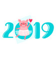 2019 happy new year card design vector image vector image