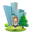 A woman outside the building holding a tray with vector image
