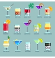 Alcohol drinks and cocktails flat icons vector image vector image