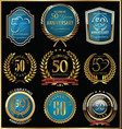 anniversary gold and blue labels collection 50 vector image vector image