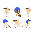 baseball player icon set cartoon style vector image
