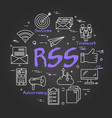 black round rss concept on black chalkboard vector image vector image