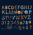 cartoon mechanics and robots font kids alphabet vector image
