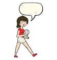 cartoon soccer girl with speech bubble vector image vector image