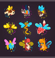collection of cute winged animals with a magic vector image vector image