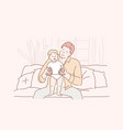 concept family fatherhood love a young happy vector image vector image