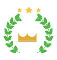 crown laurel wreath stars winner emblem image vector image