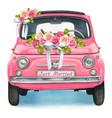 cute watercolor pink shiny vintage car wedding day vector image vector image
