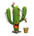 Distiller inside cactus Illegal trade of tequila vector image