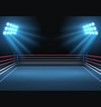 empty wrestling sport arena boxing ring dramatic vector image vector image