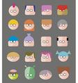 Faces Circle Icons Set vector image