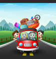 family traveling in the car vector image