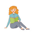 flat woman sitting with book vector image vector image