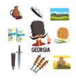 georgia icons set ceramic pitcher of wine vector image
