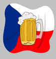 glass mug with beer over czech flag vector image