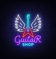 guitar shop neon sign design template vector image vector image