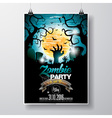 Halloween Zombie Party Flyer Design with moon vector image vector image