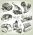hand drawn sketch meat products set black vector image