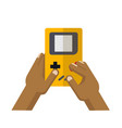 hand playing yellow game console vector image vector image