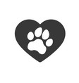 heart love dog puppy cat paw silhouette icons vector image vector image