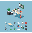 Isometric office desk vector image