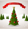low poly merry christmas tree vector image