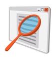 magnifying glass at monitor vector image vector image