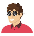 man with glasses on white background vector image vector image