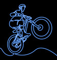 neon bicycle rider silhouette neon concept vector image