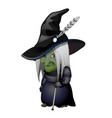 old witch with green face and walking stick vector image